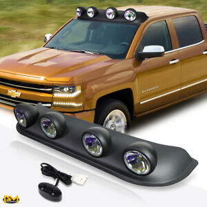 Universal 4x4 Neo Chrome Off road Roof Mounted Fog Light lamp W switch harness