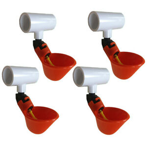 4 Automatic Waterer Drinker Cups 1 2 Pvc Tee Fitting Chicken Water Poultry