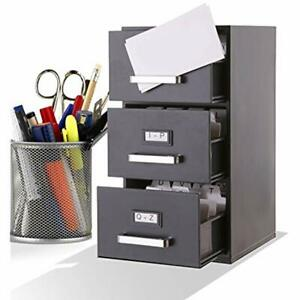 Mini Index Business Card Files File Cabinet Holder 3 drawer Office Products