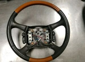 Gray 2002 02 Cadillac Escalade Steering Wheel Leather Wood Grain Factory
