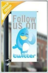 Follow Us On Twitter Pole Banner 18 x36 Free Shipping