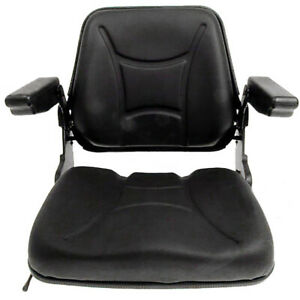 Universal Fold down Seat W Armrests Tractors Forklifts Black