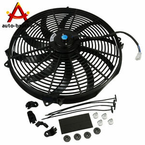 16 Inch Slim Fan Push Pull Electric Radiator Cooling W Mount Kit 12v Universal