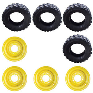 Four 4 12 16 5 14 Ply Skid Steer Tires wheels rims For New Holland Skid Steers