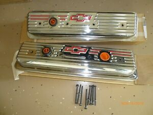 New Center Bolt Small Block Chevrolet Valve Covers Stamped Steel Chrome