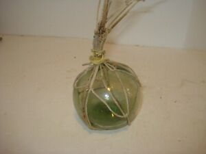 Vintage Glass Fishing Float Blue Green 3 With Rope Net
