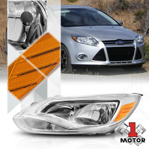 Left Lh Driver Side Chrome Headlight Headlamp Lamp Assembly For 12 14 Ford Focus