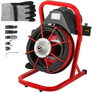 250w Drain Cleaner 50 X 1 2 Solid core Drain Cleaning Cable 8pc Auger Bits