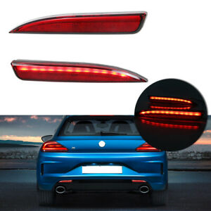 2pcs Red Switchback Led Rear Bumper Rear Fog Lighting Kit For 11 15 Vw Scirocco