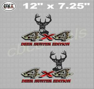 Red Camo Deer Hunting 4x4 Truck Bed Decal Sticker Truck Decal Set Of 2