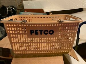 Vintage Petco Shopping Basket Beige Cart Carrier Pets Store Two Handle Rare