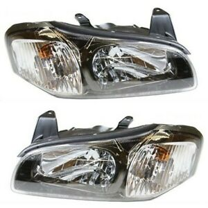 Headlight Set For 2001 Nissan Maxima Left And Right Black Housing With Bulb 2pc