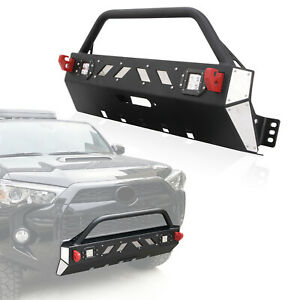 Front Winch Bumper Guard Cover Led Light For 2016 2019 Toyota 4runner Trd Pro