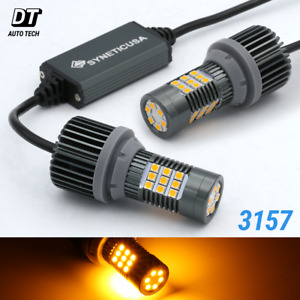 Syneticusa Canbus Error Free 3157 3156 Amber Led Drl Turn Signal Light Bulbs