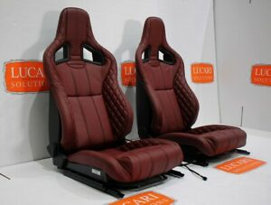 Burgundy Leather Recaro Pair Of Front Seats Tip Up Bases Fit Land Rover Defender