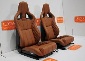 Tan Leather Recaro Cs Pair Of Front Seats Tip Up Bases Fit Land Rover Defender