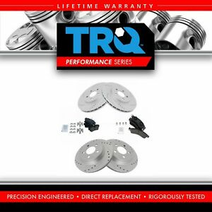 Trq Brake Rotor Drilled Slotted Zinc Coated Ceramic Pad Front Rear Kit