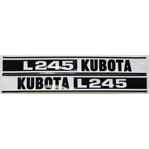 2 piece Black White Hood Decal Set For Kubota Compact Tractor L245