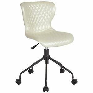 Flash Furniture Somerset Home And Office Upholstered Task Chair In Ivory Vinyl