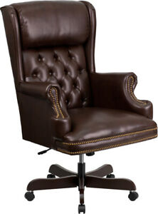 High Back Traditional Tufted Brown Leather Executive Swivel Office Chair