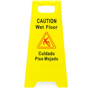 Yellow Caution Wet Floor Sign 2 sided Bilingual Warning Accident Prevention