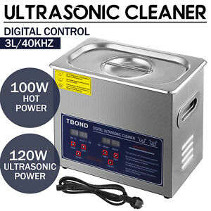 Stainless Steel Industry Ultrasonic Cleaner 3l Heated Heater W timer