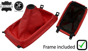 Red Leather Shift Boot Plastic Frame Top Ring For Honda Crx Del Sol 92 98