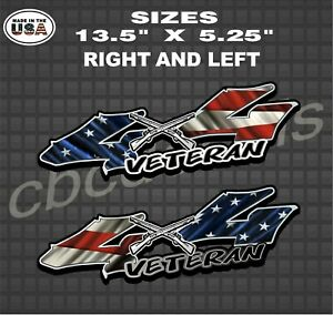 American Flag Veteran 4x4 Truck Bed Decal Sticker Truck Decal Set Of 2 Services