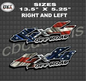 American Flag Off Road 4x4 Truck Bed Decal Sticker Truck Decal Set Of 2 Service