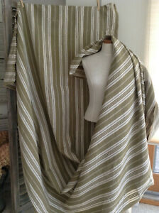 Vintage French Stripe Ticking Fabric Khaki Olive Green Linen Long 56 X171