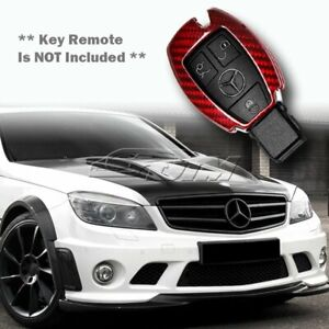 For Mercedes benz C180 200 250 300 Real Red Carbon Fiber Remote Key Shell Cover