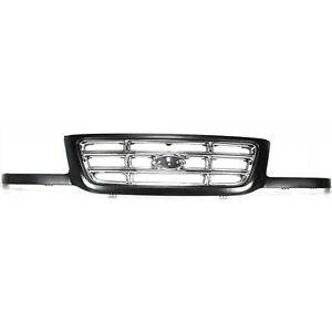 Grille For 2001 2003 Ford Ranger Black Shell W Chrome Insert Plastic