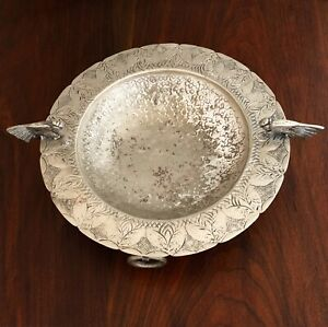 South American Footed Bowl Pewter Bird Handles And Engraved Decoration