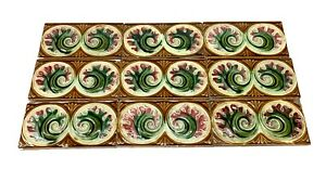 Light Brown Tile Set With Pink Green Flowers