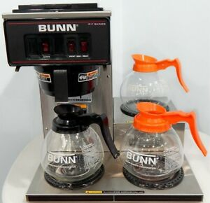 Bunn Vp17 3 Coffee Maker Pour Over Brewer 3 Glass Pots 3 Warmers Commericial