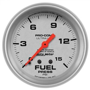 Autometer 4411 Ultra lite Mechanical Gauge For Fuel Pressure W Silver Dial Face