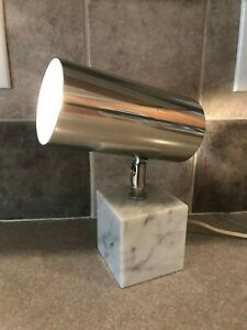 Vintage Koch Lowy Carrera Marble Base Table Lamp Mcm Eames Era Working