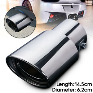 Universal Chrome Stainless Car Rear Exhaust Pipe Tail Muffler Tip 62mm Straight