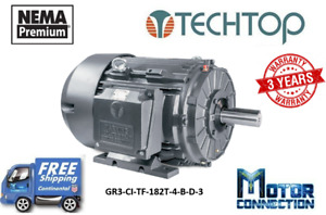 3 Hp Electric Motor 182t 1800 Rpm 230 460v 3 phase Cast Iron