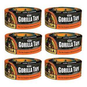 Gorilla Tape Black Duct Tape Heavy Duty Weather Resistant 1 88in X 12yd 6 pack