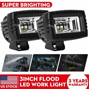 2pcs 3 Inch Led Work Light Bar Cube Pods Flood Offroad Fog Driving Lamp