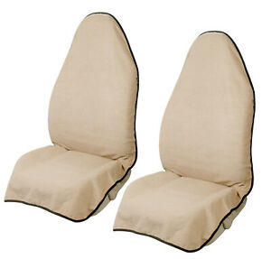 2pcs Waterproof Towel Bucket Seat Covers For Car Truck Suv Front Seat Beige