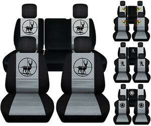 Front rear Car Seat Covers Blk gray W deer frog Fits Jeep Liberty 2008 2012