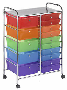 Ecr4kids 15 drawer Plastic Mobile Organizer Rolling Cart For Storage