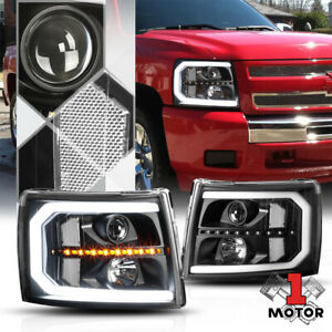 Black Clear Projector Headlight Led Drl Sequential Signal For 07 14 Silverado