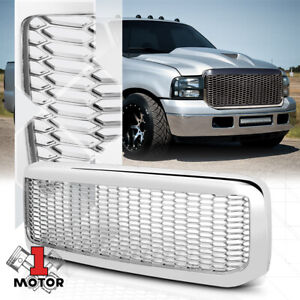 Glossy Chrome Abs Honeycomb Mesh Bumper Grille Grill For 99 04 Ford F250 F350 Sd