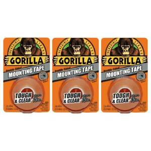 Gorilla Mounting Tape Double Sided Adhesive Roll Strong 1in X 60in Clear 3 pack
