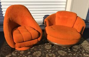Vintage Pair Baughman Style Mid Century Barrel Lounge Chairs Swivel Orange 70s