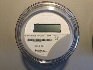 Schlumberger watthour Meter kwh C1s Centron 240 Volts Fm2s 200 Amps