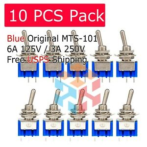 10pcs 2 Pin Spst On off 2 Position 250vac Mini Toggle Switches Mts 101 Us Stock